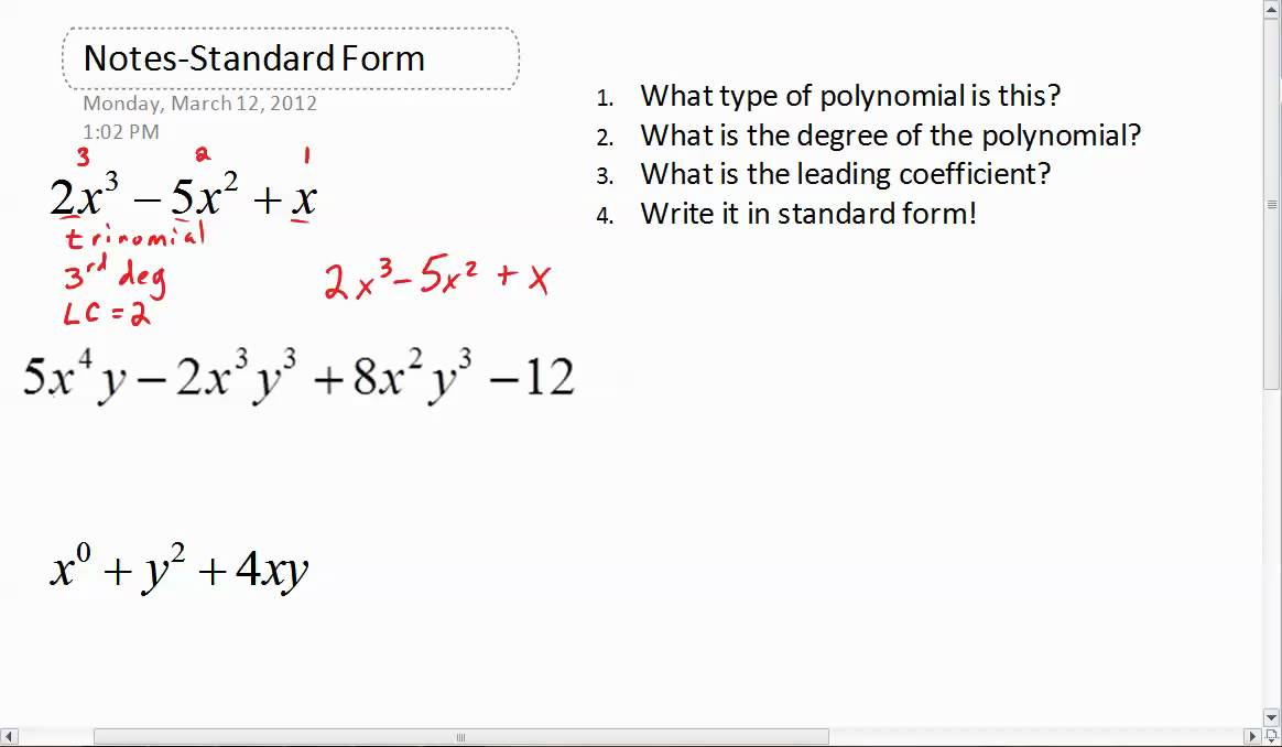 What does standard form look like in math