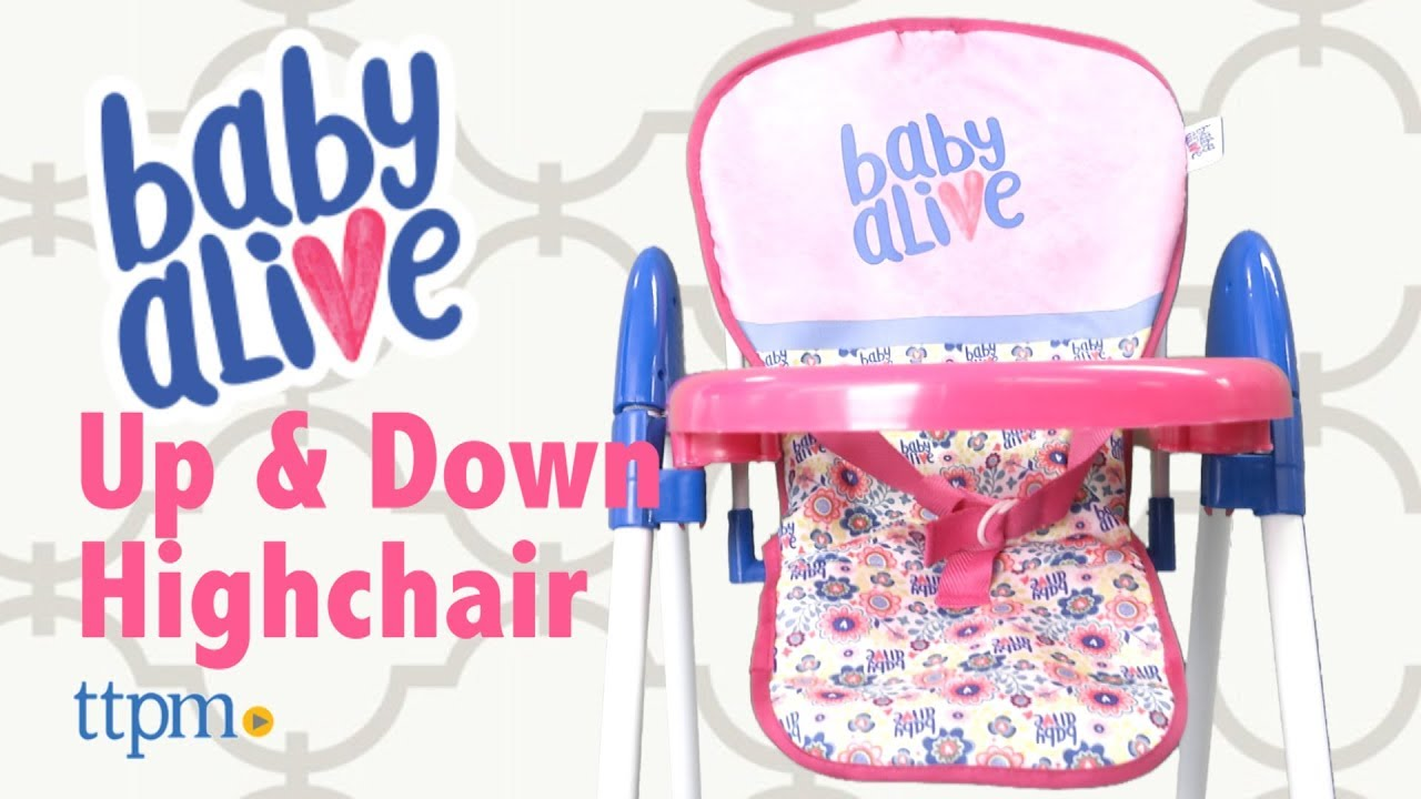 baby alive high chair for toddlers doll up n down highchair from hauck youtube