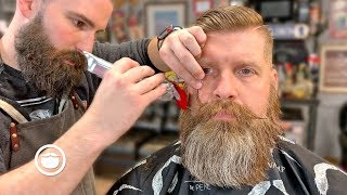 Bushy Beard Trim with High and Tight Haircut | The Dapper Den Barbershop
