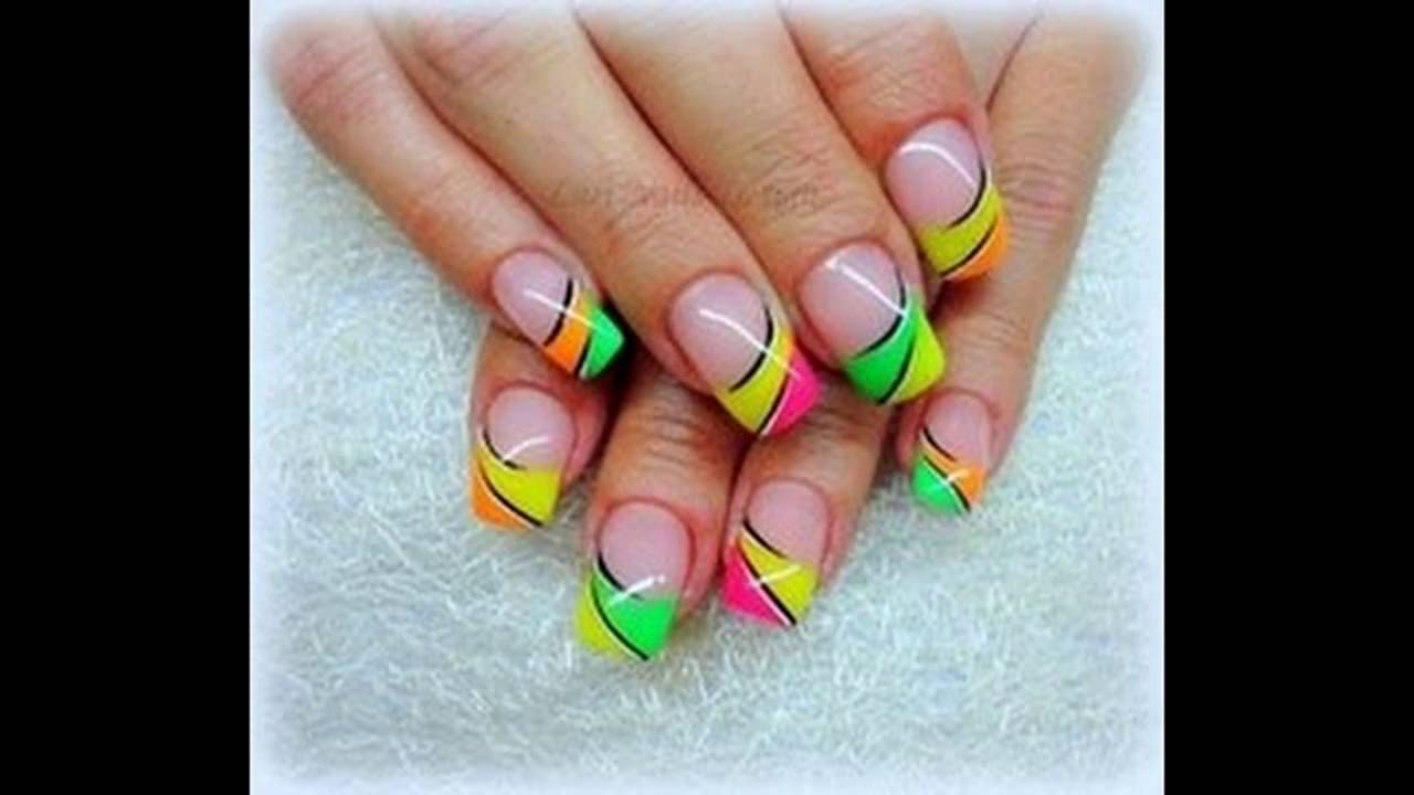 Uñas Decoradas Con Colores Fosforescentes Youtube