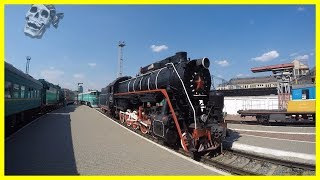 Exploring Old Soviet Steam Locomotive in Kyiv Railway Museum 2018. Amazing Russian Steam Train