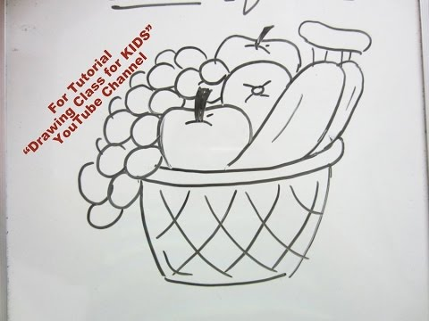 How To Draw Basket Of Fruits Step By Step Tutorial For Kids Youtube
