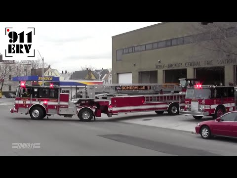 Somerville, MA Fire Department Engine 2, Ladder 2, Spare Rescue 1 Responding