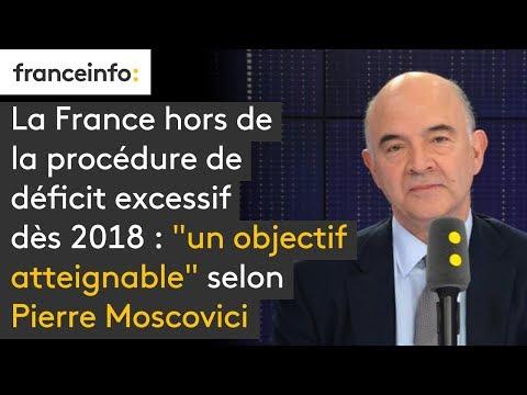 """La France hors du déficit excessif dès 2018 : """"un objectif atteignable"""" selon Pierre Moscovici"""