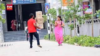 Dropping Boxes On People Prank in Telugu   Pranks in Hyderabad 2018   FunPataka