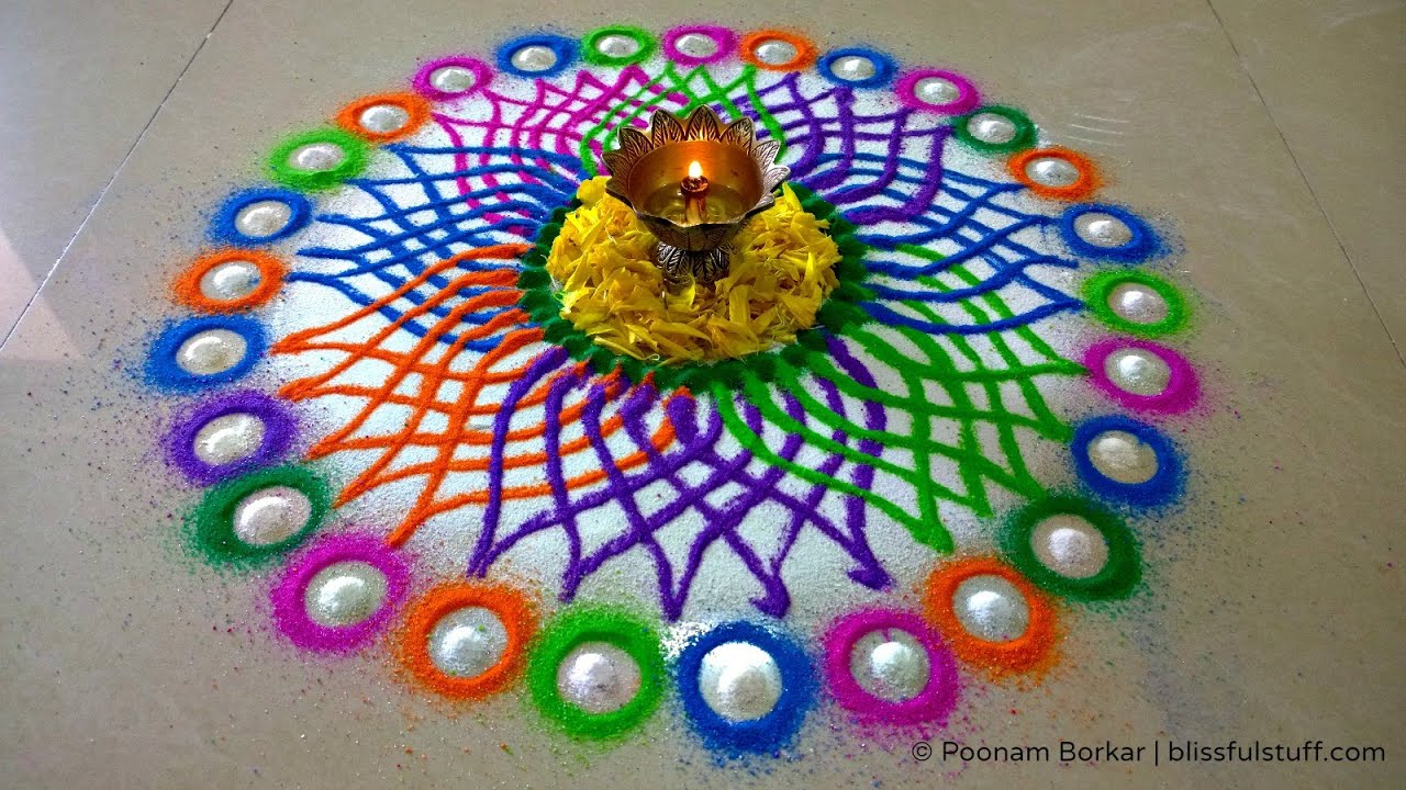 Diwali Special Rangoli Design Multicolored Flower