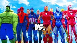 THE AVENGERS VS IRON MAN ARMY - CAPTAIN AMERICA, HULK, SPIDER-MAN, HAWKEYE, THE VISION VS IRON MAN