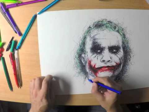 Joker Scribble Drawing : Chaotic scribble drawing of heath ledger s joker youtube