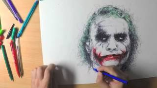 Chaotic scribble drawing of Heath Ledger