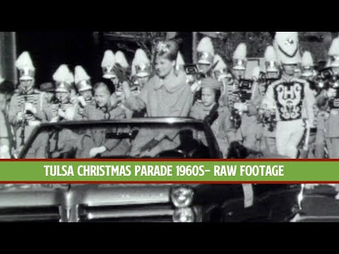 TULSA CHRISTMAS PARADE ON MAIN STREET - Mid 1960s Raw Film Footage   Tulsa History Series
