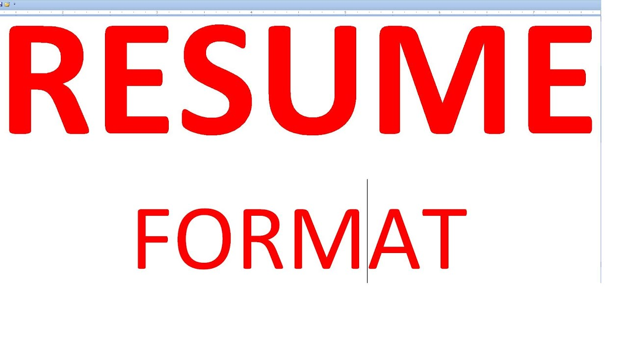 Resume Format - YouTube