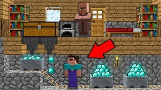 Minecraft NOOB vs PRO: NOOB INVENTED SUPER SECRET WAY TO ROB VILLAGER Challenge 100% trolling