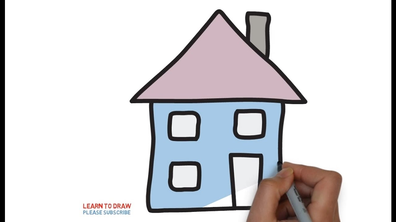 Easy Step For Kids How To Draw A Simple House Youtube