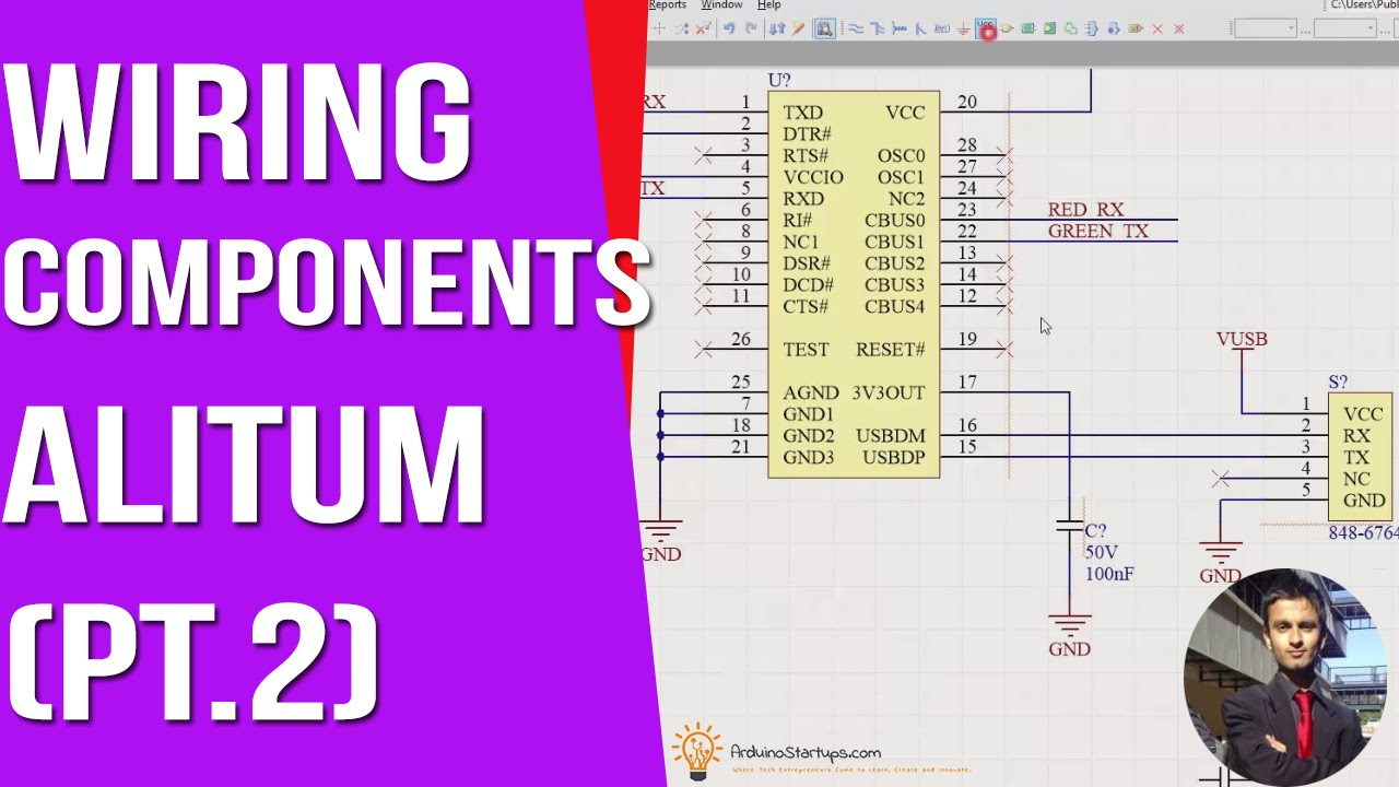 Wiring Components And Using Net Labels Part 2 Altium Designer Schematic Wire Jump Arduino Pcb Course Youtube
