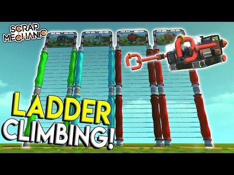 LADDER CLIMBING CHALLENGE! - Scrap Mechanic Gameplay - Wall Crawler Race Challenge