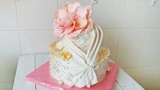Необычное Оформление Свадебного Торта . Большой Цветок из Мастики / Wedding Cake
