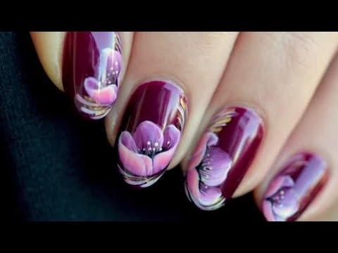 Nail art Flower zhostovo - YouTube