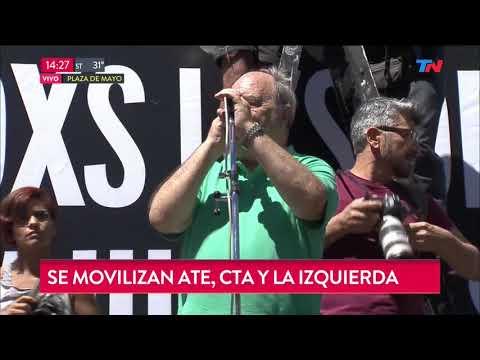 Movilización de ATE, CTA y la izquierda en Plaza de Mayo