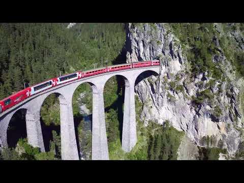 Aerial recording of trains crossing the Landwasser Viaduct