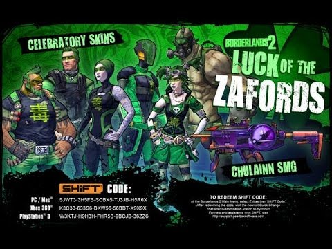 Borderlands 2 - SAINT PATTY SKINS & CHULAINN - NOW WITH ... Borderlands 2 Shift Codes
