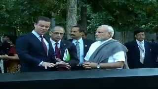 PM Modi paying homage at the 9/11 Memorial, in New York