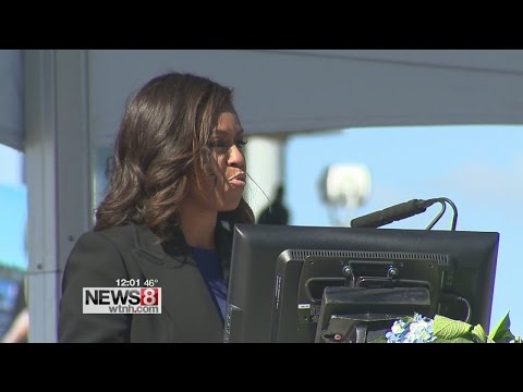 Michelle Obama christens new submarine in Groton
