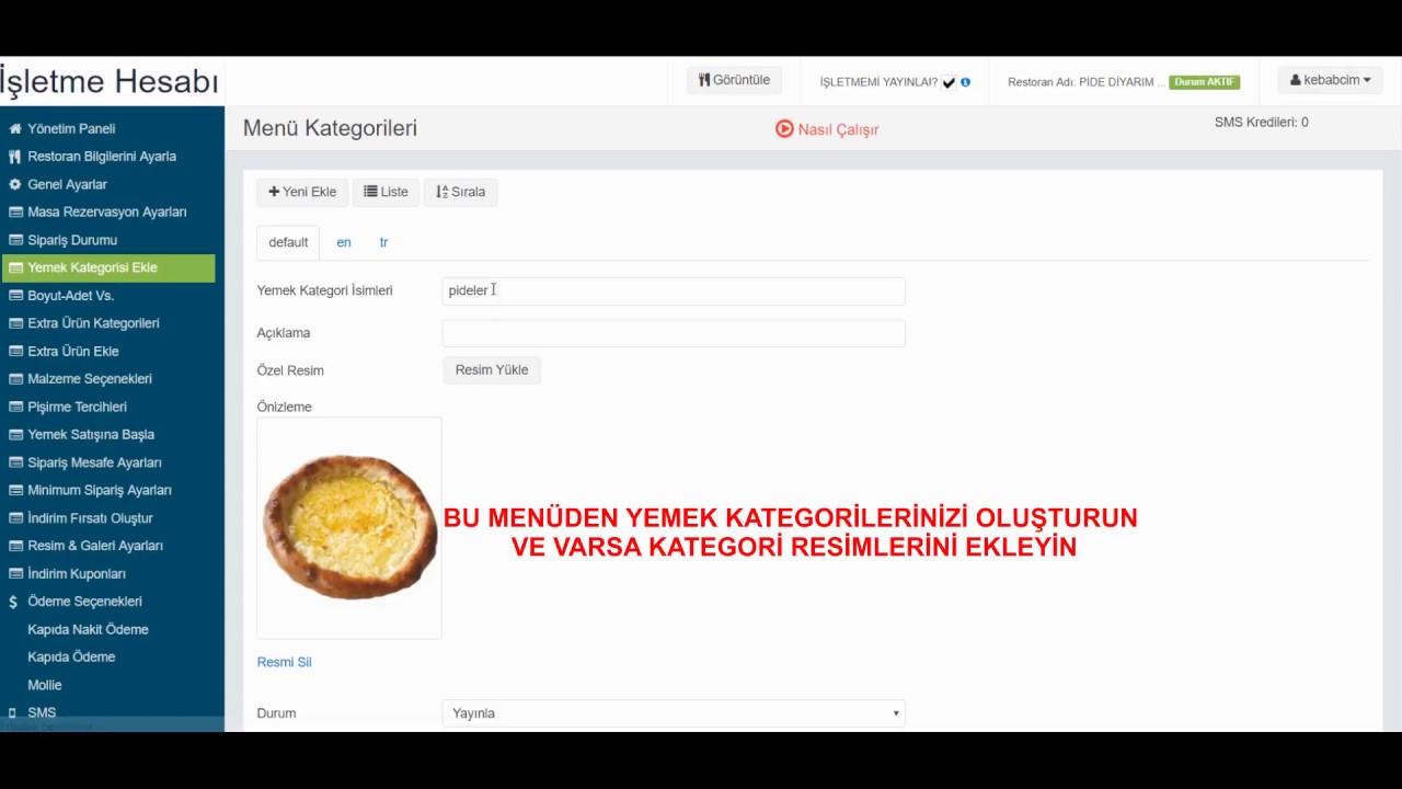YEMEKSIPARISI.COM.TR YÖNETİCİ HESABI-RESTORAN EKLE-KAYIT