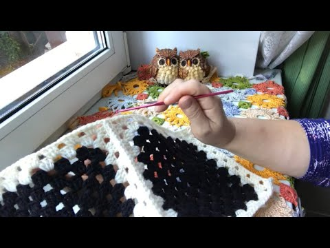 Как сшивать бабушкины квадраты крючком видеоурок