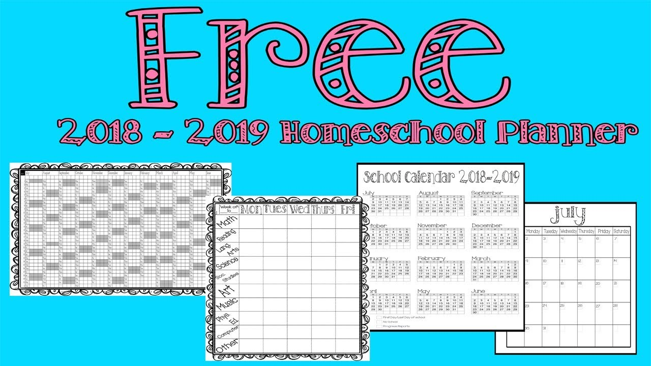 picture about Free Printable Homeschool Planner titled Totally free Homeschool Planner 2018-2019