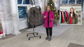 StyleList by Micaela Printed or Solid Funnel Neck Coat on QVC