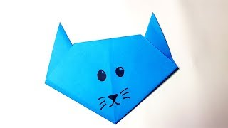Cute and Easy Origami Cat Face -Tutorial For Kids
