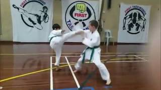 First Taekwondo Green Belts sparring