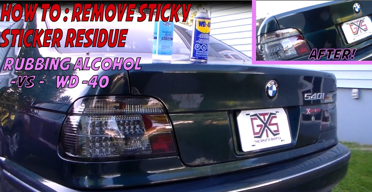 how to remove sticky sticker residue rubbing alcohol isopropyl alcohol vs wd 40 youtube. Black Bedroom Furniture Sets. Home Design Ideas