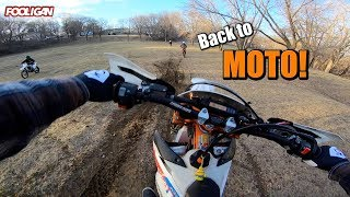 First MOTO Day   Crashes, Roost, and Berms!