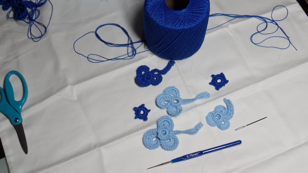 Motivo de Trebol paara Encaje Irlandes a crochet - YouTube