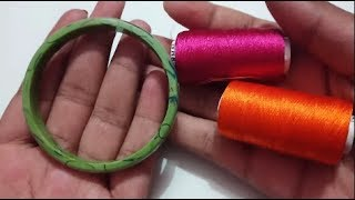 Silk Thread Bridal Pearl Stone Kada/Bangle making at home | SILK THREAD BANGLE WITH LATKAN
