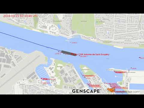 Container ship CMA CGM Antoine de Saint Exupéry is in Hamburg for the first time March 15, 2018