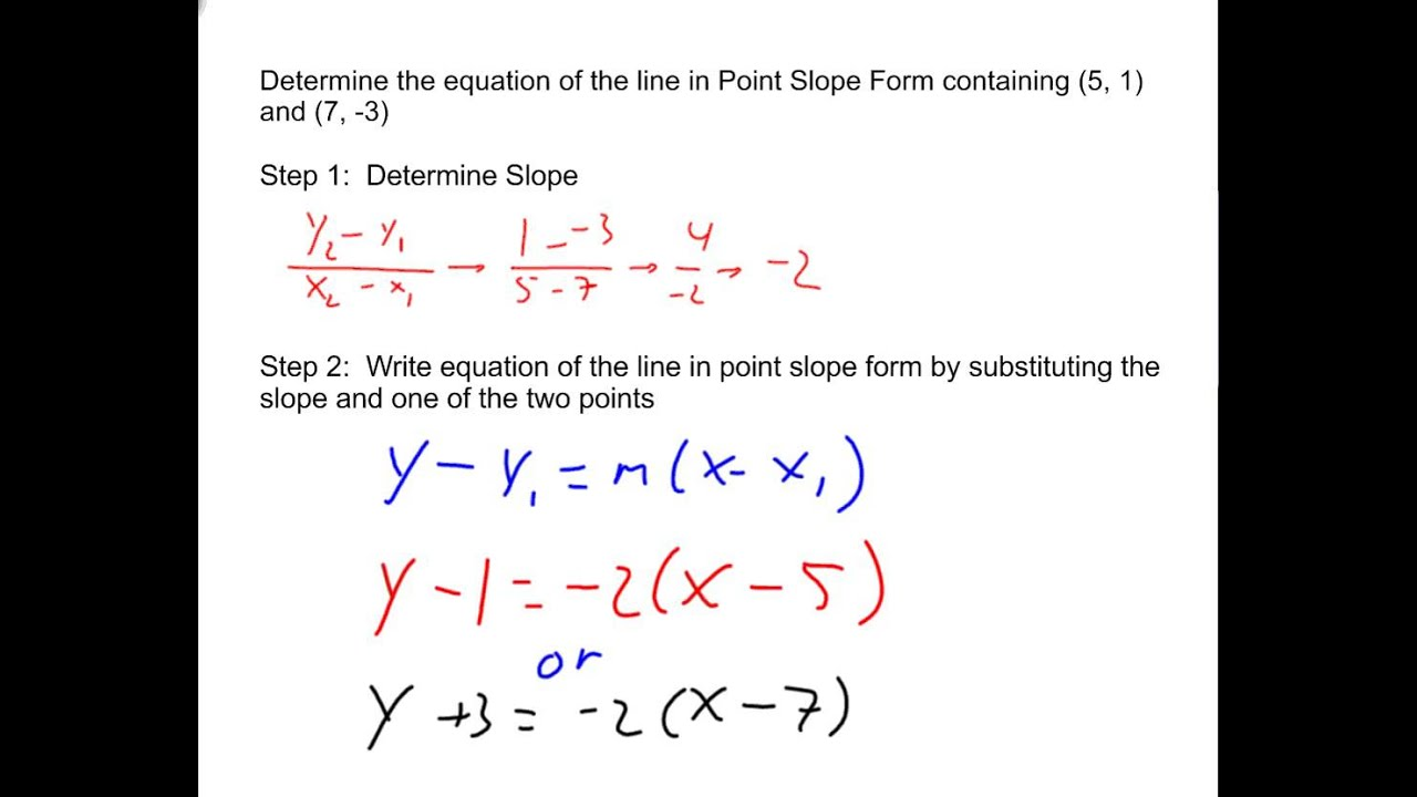 Determining the Equation of Lines in Point Slope Form Given 2 ...