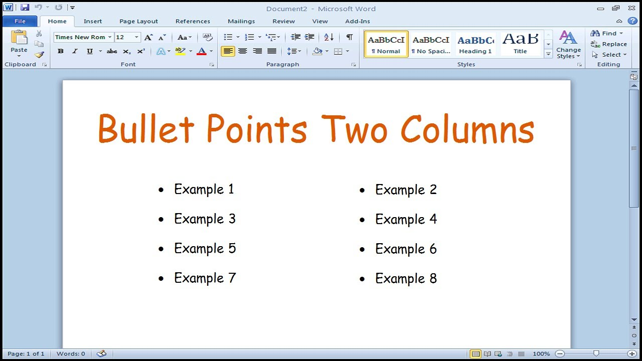 how to create bullet points in two columns microsoft word