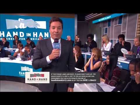 Jimmy Fallon speaks at Hand in Hand benefit for Hurricanes Harvey and Irma relief fund.