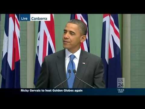 U.S. President Barack Obama addresses the Australian Parliament 17-11-2011