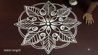 creative latest rangoli design without dots || freehand muggulu || easy & simple rangoli designs