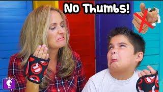 NO THUMBS! HobbyKids VS HobbyMom in Get A Grip Game PART 1