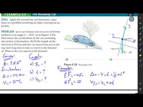 Inclined Plane - Laws of Motion Example Problem [w/o friction]