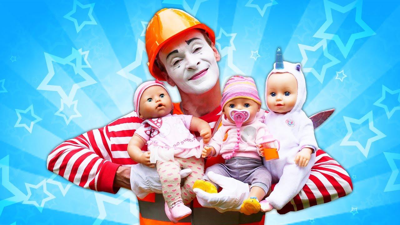 Смешное видео с Беби Бон и клоуном. Много кукол Беби Бон и мим. Веселые игры для детей