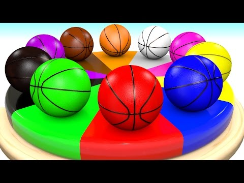 Learn Colors for Children with Basketballs Wheel Color Chart Toddlers Kids Videos