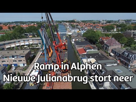 Two construction cranes and a part of a bridge fell down on multiple buildings in Alpen aan den Rijn, the Netherlands. At least 20 people are injured