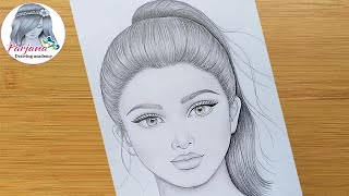 How to draw a girl with ponytail hairstyle Pencil sketch Face Drawing bir kız nasıl