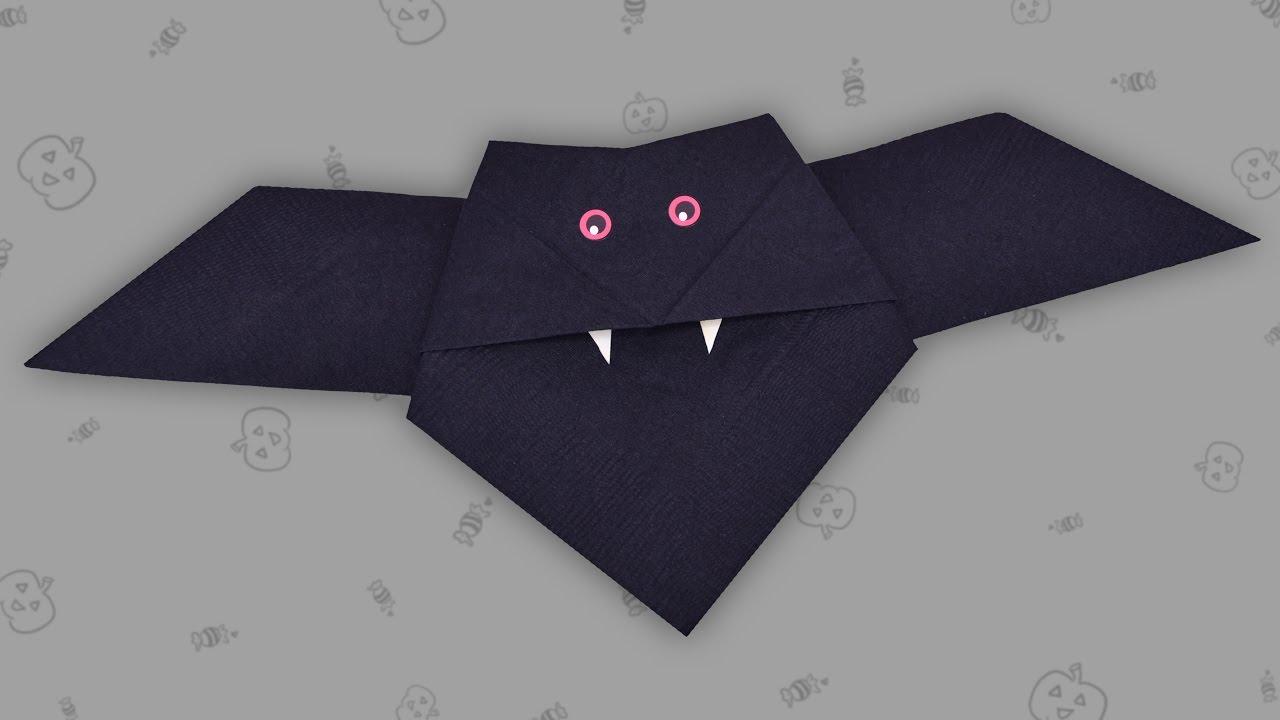 servietten falten fledermaus halloween bat napkin youtube. Black Bedroom Furniture Sets. Home Design Ideas