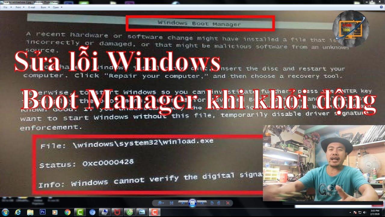 Sửa lỗi Windows Boot Manager khi khởi động